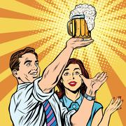 Triumph beer festival bar pub man and woman - stock illustration