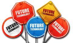 future technology, 3D rendering, street signs - stock illustration