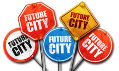 Future city, 3D rendering, street signs Stock Illustration