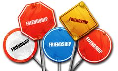 Friendship, 3D rendering, street signs Stock Illustration