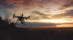 Custom drone hexacopter flies in the sky Stock Footage
