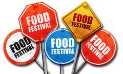 food festival, 3D rendering, street signs - stock illustration