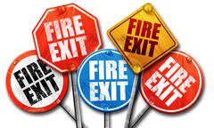 Fire exit, 3D rendering, street signs Stock Illustration