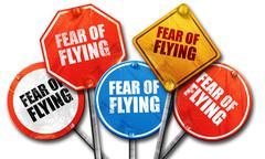 Fear of flying, 3D rendering, street signs Stock Illustration