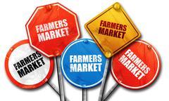 Farmers market, 3D rendering, street signs Piirros
