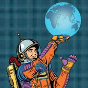 Retro astronaut is holding the planet Earth on hand - stock illustration