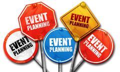 event  planning, 3D rendering, street signs - stock illustration