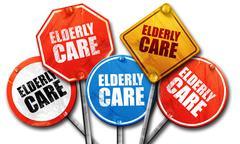 elderly care, 3D rendering, street signs - stock illustration