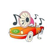 Colorful automobile like gramophone vector illustration isolated on white bac Stock Illustration
