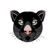 Beautiful black panther head silhouette vector illustration  isolated on whit - stock illustration