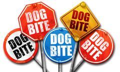 dog bite, 3D rendering, street signs - stock illustration