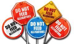 do not feed alligators, 3D rendering, street signs, 3D rendering - stock illustration