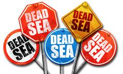 dead sea, 3D rendering, street signs, 3D rendering, street signs - stock illustration