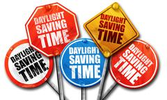 Daylight saving time, 3D rendering, street signs, 3D rendering, Stock Illustration