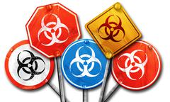 Bio hazard sign on a grunge background, 3D rendering, street sig Stock Illustration