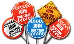 Join our team sign, 3D rendering, street signs, 3D rendering, st - stock illustration