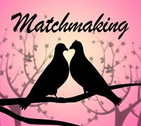 Matchmaking Doves Indicating Set Up And Heart - stock illustration