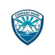 Winter sports camping logo with name sun landscape trees camp fire and camp v - stock illustration