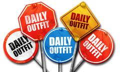 daily outfit, 3D rendering, street signs - stock illustration
