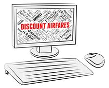 Discount Airfares Meaning Current Prices And Computer Stock Illustration