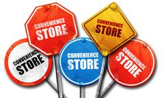 Convenience store, 3D rendering, street signs Stock Illustration