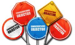 conscientious objector, 3D rendering, street signs - stock illustration