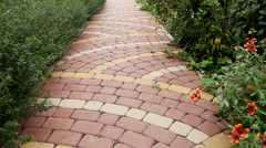 View of the exterior of a contemporary garden. The paved path in the yard. Stock Footage