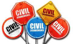 civil disobedience, 3D rendering, street signs - stock illustration
