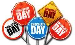 Chocolate day, 3D rendering, street signs Stock Illustration