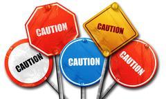 caution, 3D rendering, street signs - stock illustration