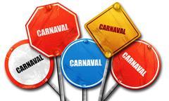 Carnival, 3D rendering, street signs - stock illustration