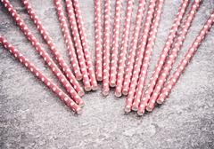 Drinking straws on table, party preparation Stock Photos