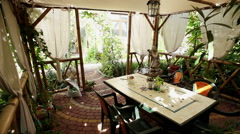 The interior of a modern covered summer-house Stock Footage