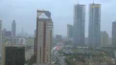 panoramic aerial turkey Istanbul skyscrapers city business cityscape technology - stock footage