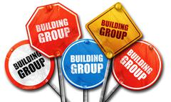 building group, 3D rendering, street signs - stock illustration