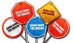 bring home the bacon, 3D rendering, street signs - stock illustration