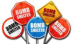 bomb shelter, 3D rendering, street signs - stock illustration