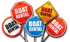 Boat rental, 3D rendering, street signs Stock Illustration