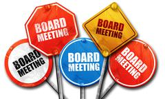 board meeting, 3D rendering, street signs - stock illustration