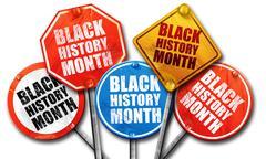 black history month, 3D rendering, street signs - stock illustration