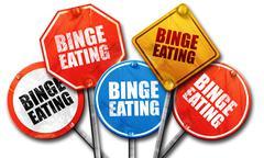 binge eating, 3D rendering, street signs - stock illustration