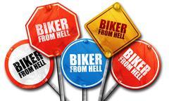 Biker from hell, 3D rendering, street signs Stock Illustration