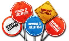 Beware of jellyfish, 3D rendering, street signs Stock Illustration
