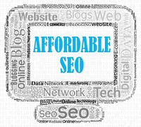 Affordable Seo Representing Low Cost And Optimization Stock Illustration
