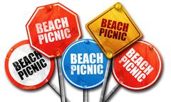 Beach picnic, 3D rendering, street signs Stock Illustration