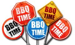bbq time, 3D rendering, street signs - stock illustration