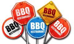 bbq restaurant, 3D rendering, street signs - stock illustration