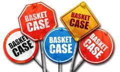 basket case, 3D rendering, street signs - stock illustration