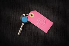 Modern key and label with copyright symbol - stock photo