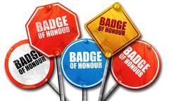 badge of honour, 3D rendering, street signs - stock illustration